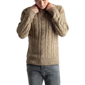 (ラフタス) Rafftas ケーブル編み クルーネックニット セーター メンズ ニット インナー Lサイズ ベージュ ミックス