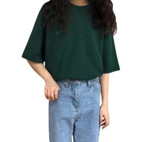 BeiBang(バイバン)Tシャツ レディース 半袖 トップス カットソー ゆったり イエロー 韓国ファッション クルーネック 通学 コットン(グリーン)