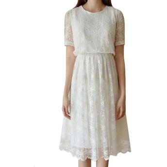 GFMADE レディース ワンピース 半袖 花柄 ロング aライン ドレス 無地 結婚式 二次会 白 大きいサイズ (ホワイト, S)