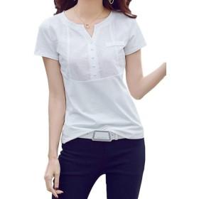 [ラララ] Tシャツ 半袖 綿 レディース (XL, 白)