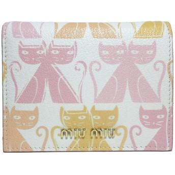 ミュウミュウ miumiu 財布 5MV204 マドラスレザー ネコ/キャット 柄 二つ折り財布 MADRAS CAT COLO/PETALO 【アウトレット】 [並行輸入品]