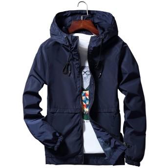 Blissmall ウィンドブレーカーメンズナイロンジャケット防風登山軽量春秋冬パーカースタジアムジャンパー618 BB7(L、紺(帽子))