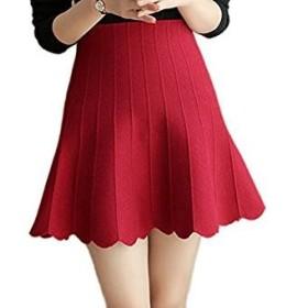 スカート ニットスカート ニット ミニスカート リブ Aライン 膝丈 ミニ レッド グレー ブラック 黒 赤 S M L 全3色 (L, レッド)