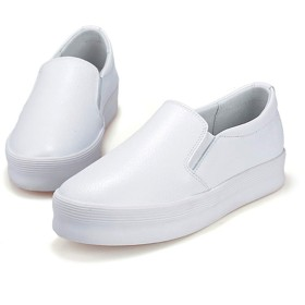 スリッポン 厚底スニーカー レディース スニーカー 黒 ホワイト 白 厚底 スリッポン 靴 厚底スリッポン 大きいサイズ 3E 本革 疲れない 靴 妊婦 ぺたんこ 走れる フラットシューズ 厚底靴 痛くない 24.0cm 旅行 オフィス レディース靴