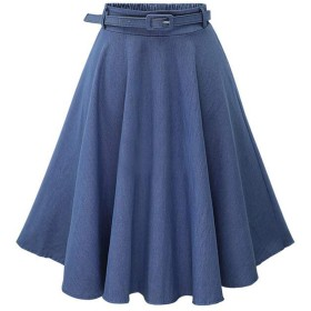 デニムスカート フレア ロング aライン レディース スカート 大きいサイズ ひざ丈 カジュアル (ライトブルー)