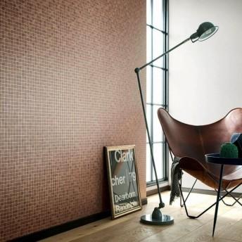 壁紙屋本舗 のりなし 壁紙 おしゃれ シンプル タイル 茶色 ブラウン 撥水コート スクエア スクエアタイル SBB-1416 BB-1416 1m単位 切売