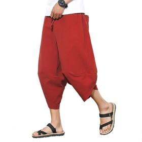 Louranサルエルパンツ メンズ ワイドパンツ カジュアル 7分丈 ハーフパンツ 春夏 ポケット 調節紐 無地 通気性 かっこいい 大きいサイズあり (レッド, XXL)