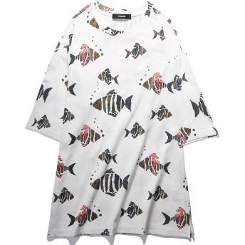VIISHOW メンズ Tシャツ 半袖 魚プリント柄 大きいサイズ カットソー トップス おしゃれ カジュアル シンプル