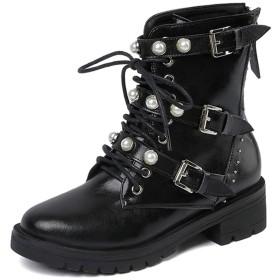 [Sktopes] デザインサイズ40本革レザーマーチンブーツパールレディースシューズカジュアルバックルブーツシューズ女性の女性のアンクルブーツ ブラック 22.5cm