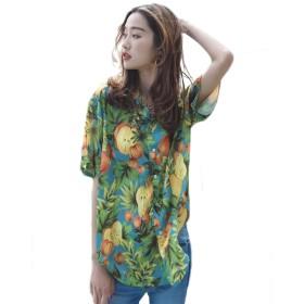 アロハシャツ 花柄 ポリエステル レディース