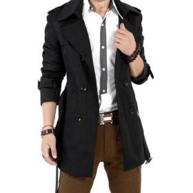 GuDeKe メンズ 春 コート トレンチ コート 2色 展開 カーキ ブラック アウター スプリング コート