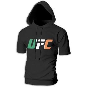 UFC クリップアート メンズ ゆったり トップス スポーツ 半袖 スウェット パーカー ファッション おしゃれ 黒 ストリート カップル