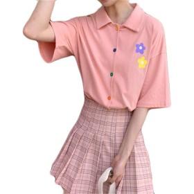 (ジャンーウェ)ポロシャツ レディース 半袖 花柄 学院風 Tシャツ 折り襟 ゆったり かわいい ファッション 夏 カジュアル スポーツ ピンク