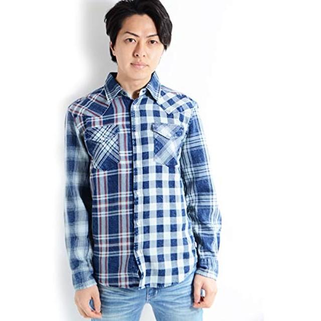 [ワンフォークロージング] (インディゴチェッククレイジーシャツ) チェックシャツ 長袖 M 96-クレイジー