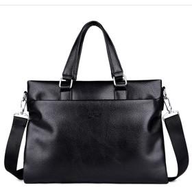 [inotenka]メンズバッグ ビジネス 3cm ハンドバッグ ショルダーバッグ 斜め ブリーフケース 黒 ブラウン ファスナー コンパートメント A4 通勤 001-ysxb (黒)