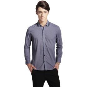 P-03 メンズ オックスフォード 長袖 シャツ カジュアル ワイシャツ 花柄 ビジネス(XL Blue)