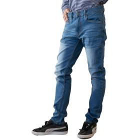 [スリーピングシープ] メンズ すっきり フィット 細身 ストレッチ スキニー ジーンズ デニム パンツ ブルー ネイビー S ~ LL (ブルー, S)