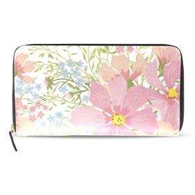 花柄 薔薇 バラ 長財布 財布 ラウンドファスナー 北欧 ギフト プレゼント PU レザー 大容量 通学 通勤 旅行