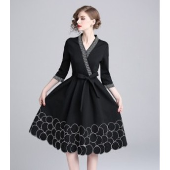 ドレス ワンピース 七分袖 袖あり 30代 40代 黒 ブラック ドレス ワンピース リボン カシュクールワンピース Aライン 袖付き Vネック