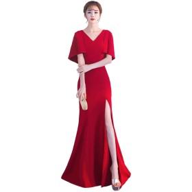 [ルリジューズ] ドレープ スリーブ V ネック ロング フレアー パーティー ドレス レディース (S, 赤)