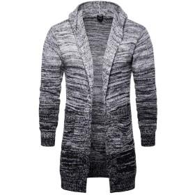 Navvourロング ニット メンズ セーター カーディガ ン フード付き メンズ ニットジャケット