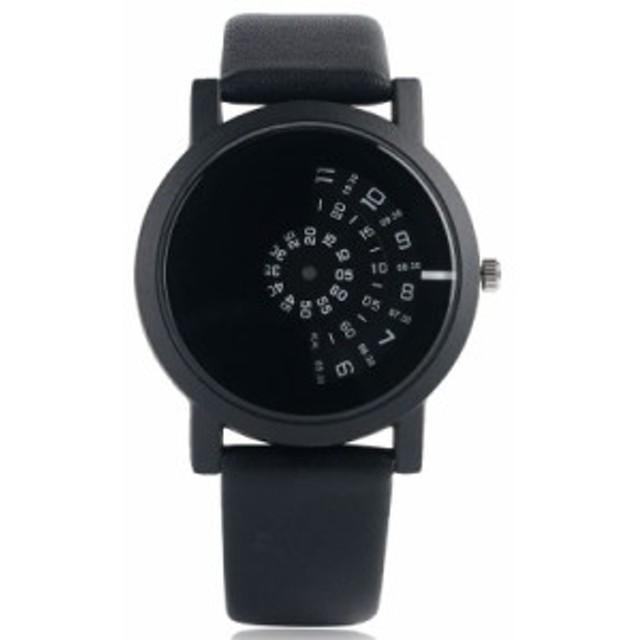 ラウンドダイヤル スタイリッシュ レザーストラップ 現代 クォーツ ファッション ターンテーブル腕時計 トレンディ 1