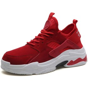 メンズランニングスポーツシューズファッションカジュアル通気性スニーカー 27cm 赤