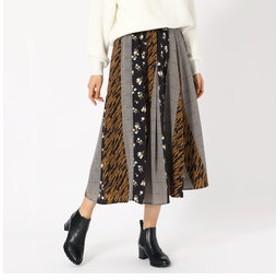 【COMME CA ISM:スカート】マルチパターン プリントスカート