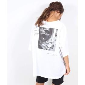 [ヴィアジェイ] 転写プリント 半袖 Tシャツ レディース ONE ホワイト
