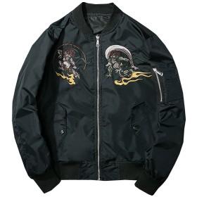Heaven Days(ヘブンデイズ) MA-1 ma1 ミリタリージャケット ジャンパー ブルゾン 中綿入り 厚手 風神雷神 鳥刺繍 メンズ 1801N0159