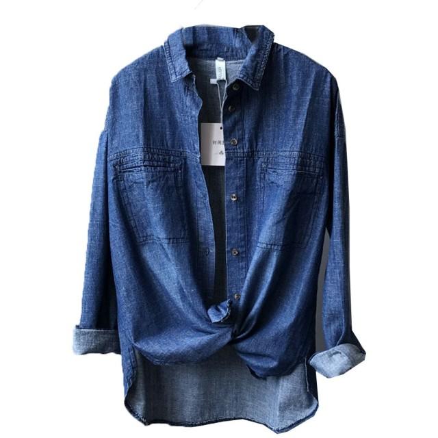 [美しいです] シャツ レディース コットン デニムジャケット ゆったり 柔らかい (ダークブルー, L)