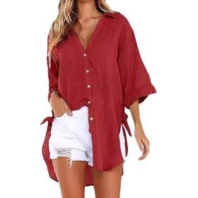 VITryst ロングスリーブトップシャツ女性Vネック高低ファッションボタン Red S