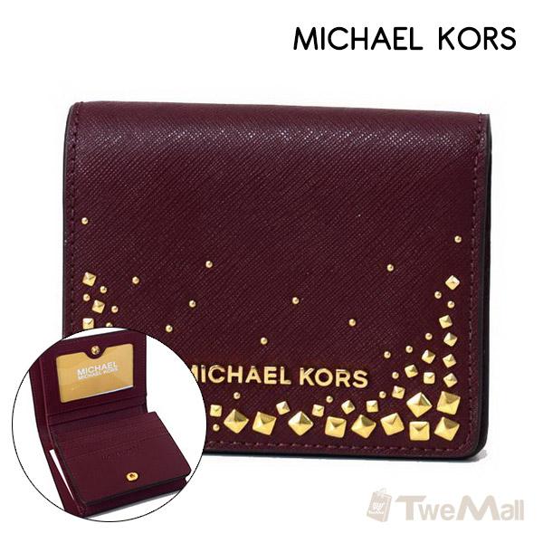 MICHAEL KORS MK 防刮皮革短夾/錢包/零錢包/皮夾(酒紅)