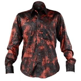 サテンシャツ ドレスシャツ ムラ柄 レギュラーカラー ドゥエボットーニ 花柄 バラ柄 ジャガード 長袖 メンズ レッド赤ブラック黒 171716 LL