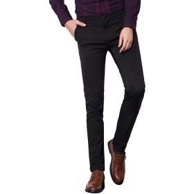 AiLoKoSo スラックス パンツ ズボン スーツパンツ ノータック ストレッチ 自宅で洗える ロングパンツ 長ズボン テーパードパンツ ウォッシャブル イージーパンツ ボトムス 仕事着 定番 ビジネス 通勤 美脚 細身 メンズ (SIZE:30, ブラック9701)