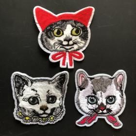 猫ちゃん 刺繍ワッペン 3枚セット
