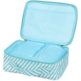 メイクボックス 旅行用化粧ケース メイクブラシ コスメ バッグ ボックス トラベル化粧ポーチ 小物入れ 収納 Aタイプ (ブルーストライプ)
