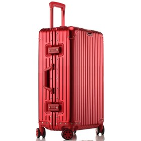 LNMLAN ハイエンド アルミニウムマグネシウム合金製スーツケース 機内持ち込みスーツケース 預け入れスーツケース キャリーバッグ TSAロック キャスター 旅行用 出張用1801 (S, レッド)