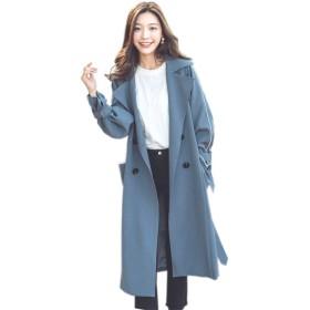 トレンチコート レディース スプリングコート ロング丈 春コート 大きいサイズ ゆったり アウター 長袖 無地 通勤 ビジネス