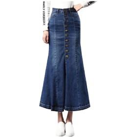Tootess 女性ストレッチ生地マーメイドジーンズシングルブレスデニムスカート Blue 25