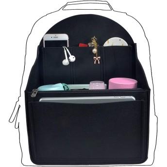 YIICOOLY バッグインバッグ リュックインナーバッグ 自立 フェルト 収納バッグ レディース メンズ バックインバック ポケット多い