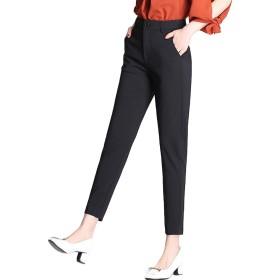 [もうほうきょう] レディース テーパード パンツ ロングパンツ ボトムス カジュアル ゆったり 無地 スーツパンツ 通勤 (ブラック, S)
