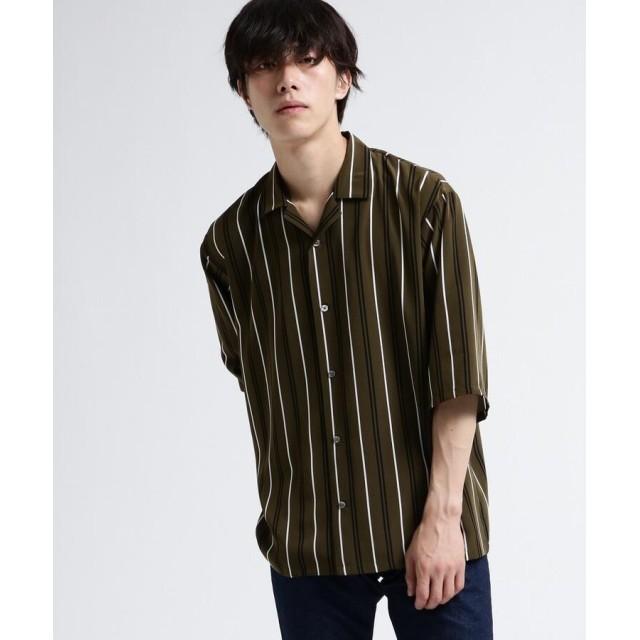tk.TAKEO KIKUCHI(ティーケー タケオ キクチ) レジメンストライプオープンカラーシャツ
