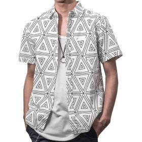 ジョーカーセレクト(JOKER Select) メンズ 半袖 シャツ 開襟シャツ オープンカラーシャツ 白 黒 L ホワイト