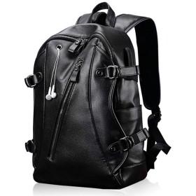 Deelfel リュックサック メンズ 大容量 防水 USB 通学 通勤 旅行 ビジネス 多機能 14インチPC 人気 バックパック 革 黒 (USB+イヤホン穴)
