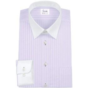 ワイシャツ 軽井沢シャツ [A10KZR241]レギュラーカラー 綿100% ショートポイントカラー クレリック 白地パープルストライプ らくらくオーダー受注生産商品