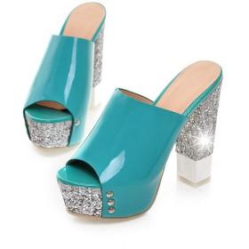[ブウケ] サンダル レディース ミュールサンダル 23.0cm チャンキーヒール 太めヒール 美脚 グリーン ハイヒール 疲れない 旅行 歩きやすい 痛くない サボサンダル 結婚式 パーティー 上品 かわいい 婦人靴 スリッパ