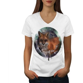 Wellcoda 狐 自然 野生 動物 婦人向け 白 XL リンガーTシャツ