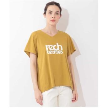 GEORGES RECH 【洗濯機OK】VネックロゴTシャツ Tシャツ・カットソー,イエロー