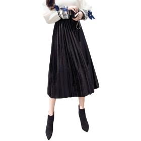 チーアン Tiann レディース スカート プリーツスカート フレア スカート マキシスカート ベロアプリーツスカート ベロアスカート ロングスカート 無地 ゆったり 普通着 お出かけ お呼ばれ ビビッド ブラック L